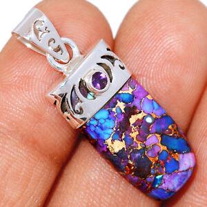 Copper Purple Turquoise & Amethyst 925 Silver Pendant Jewelry BP10787 221D