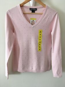 Designer DKNY  Soft COTTON Knit   Sparkle Jumper / Sweater Size Small  NWT Pink