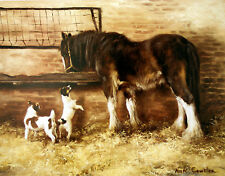 JACK RUSSELL TERRIER DOG SHIRE HEAVY HORSE FINE ART PRINT the Late Mick Cawston
