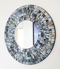 Round mosaic wall mirror, grey and gold brushed, hand made in Bali, 40cm-NEW
