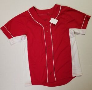 Augusta Sportswear Youth Wicking Mesh Button Front Baseball Jersey. Red Med NWT