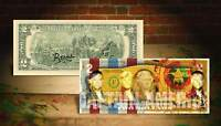 DEREK JETER CAPTAIN AMERICA YELLOW Rency / Banksy Pop Art US $2 Bill Signed #/70