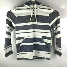 NWT Free Planet men's Small  White & Gray Striped LS Hoodie Pullover MSRP $48