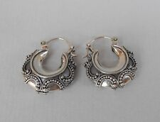 Best Design Solid 925 Sterling Silver Hoop Earrings/ Balinese Handmade Earrings