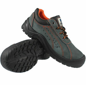 MENS SAFETY WORK STEEL TOE CAP MIDSOLE BOOTS LEATHER TRAINERS LADIES SHOES