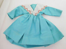 Vintage Turquoise Blue Brushed Cotton Dress for Medium Size Fashion Doll