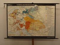 alte Schulwandkarte Preussen vs Österreich 1795 vintage wall map 192x133cm 1966