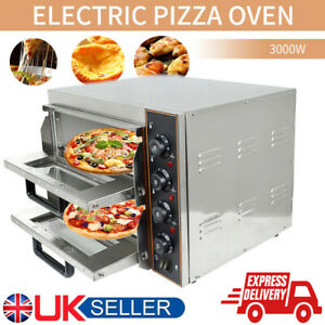 """Commercial Pizza Oven Double Deck Electric 2x16"""" Baking Fire Stone Catering UK"""