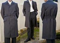 MENS GABARDINE LINED VINTAGE RAINCOAT PEA TRENCH COAT MILITARY ARMY JACKET