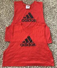 Vintage Adidas Mesh Soccer Pinnie Tank Jersey Red Lot (2) Size Medium 3 Stripes