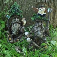 Tree Ent Pair Owl Greenman Garden Ornaments Sculpture Statues Gift