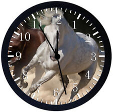 Beautiful White Horse Black Frame Wall Clock Nice For Decor or Gifts E375