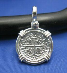 Small Sterling Silver Spanish Pirate Treasure Coin Doubloon Replica  Pendant