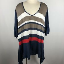 Lane Bryant 26 28 Sweater V-Neck Pullover Asymmetrical Hem Striped Career