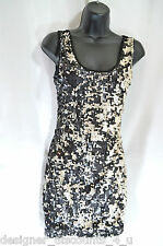 SYMPHONY sequin front black fitted mini SEXY PARTY CLUB WEAR DRESS Size SZ S