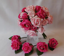 Hot Pink and Light Pink Roses - Bridal Bouquet with 10 Hot pink buttonholes