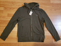 NWT $115 Guess Men's Olive Green Full Zipper Distressed Hoodie Sweater Size M