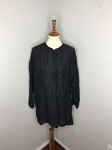 Plus Eileen Fisher Black Button Front Linen Blouse 1X