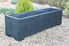 Large Wooden Garden Flower Herb Planter / Trough Veg Bed In Decking 120cm Long