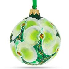 Green Orchids Glass Christmas Ornament 3.25 Inches