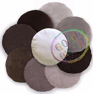 Mf Plain Cream Brown Tan Microfiber Velvet Round Cover/Pillow Case Customize