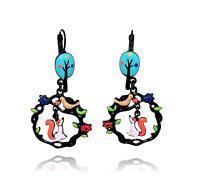 Lol Bijoux - Boucles d'Oreilles le Corbeau et le Renard - Arbre Bleu