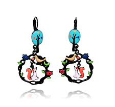 Boucles d'oreilles le corbeau et le renard ♥ arbre bleu ♥ lol bijoux 2017 Paris