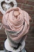 XXL écharpe à motif franges Plaid à carreaux étole poncho rose lurex