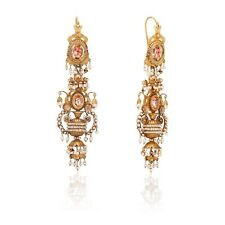 Early 19th C Spanish Foil Backed Paste and Seed Pearl Earrings