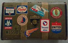 Vintage Suitcase w/ Vintage Eastern Capital Mohawk NW Orient Airlines, MO Univ