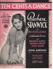 Ten Cents A Dance 1930 Barbara Stanwyck Sheet Music