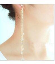 WOMEN'S LINEAR LONG TASSELS DIAMANTE RHINESTONE DANGLE PARTY EARDROP EARRINGS