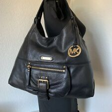 Michael Kors XL Black Leather Austin Satchel Shoulder Hobo Purse Tote Bag