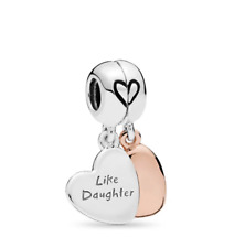 MOTHER & DAUGHTER HEART SPLIT DANGLE CHARM BEAD 925 STERLING SILVER MOTHERS DAY