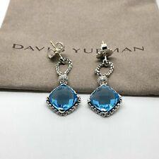 David Yurman Sterling Silver Blue Topaz Cushion on Point Diamond Earrings