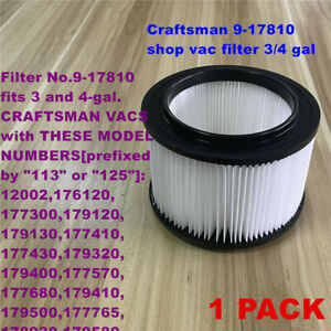 1 PACK Craftsman 9-17810 shop vac filters 3/4 gal vacs made 1988 and after