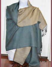 Hand Woven Double Sided Silk Shawl in Green and Beige Color from India!