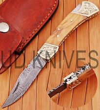 UD KNIVES CUSTOM HAND FORGED DAMASCUS STEEL POCKET FOLDING HUNTING KNIFE D-4682