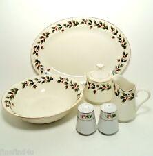 China Dishes Holly Holiday XMAS Noel 5 Pc Hostess Set Platter Bowl Creamer Sugar