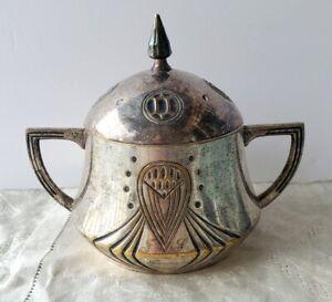 Antique WMF Secessionist Art Nouveau Silverplate Sugar Bowl
