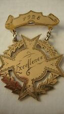 ANTIQUE 1928 GOLD PLATED BROOCH SCHOOL MEDAL HAND ENGRAVED FRONT EXCELLENCE