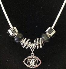 Las Vegas Raiders Necklace Jewelry NFL Football Charm Euro Beads Fan US SELLER