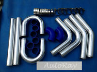 Aluminum Universal Intercooler Turbo Piping Kit + Blue Silicone Hoses 2.5'' 64mm
