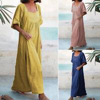 ZANZEA Women's Square Neck Long Maxi Dress Summer Solid Full Length Shirt Dress