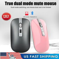 2.4GHz Wireless Bluetooth 5.1 Dual Mode Rechargeable Mute Mouse Mice For PC ##