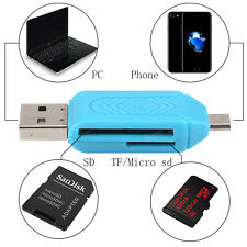 All in 1 USB Memory Card Reader Micro USB OTG to USB 2.0 Adapter SD/Micro SD UK