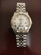 Men's Gents Stainless Rolex Datejust! White Roman Dial #16264 Turnograph Bezel