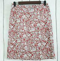 JONES NEW YORK SPORT Stretch Pencil Skirt White Red Size 4 Floral Print EUC