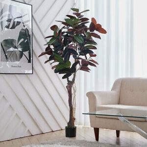 170CM Large Artificial Ficus Elastica Rubber Tree Garden Green Plant With Pot UK