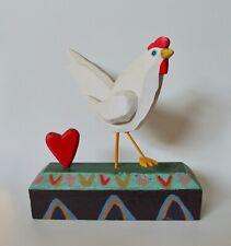 Jim Wagner Taos Wood Folk Art I Love Chicken Wood Sculpture 1940-21